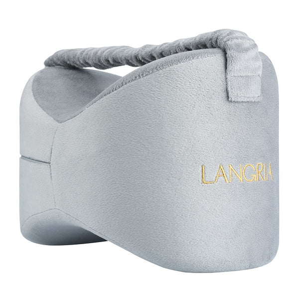 LANGRIA Knee Memory Foam Pillow with Elastic Strap, Grey
