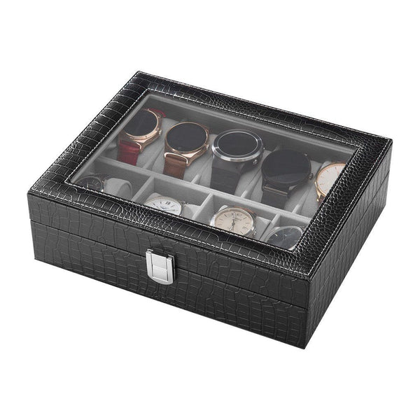 LANGRIA 9-Slot Faux Leather Watch Display Storage Box