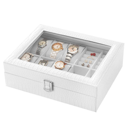 LANGRIA 10-Slot Faux Leather Watch and Accessories Storage Box