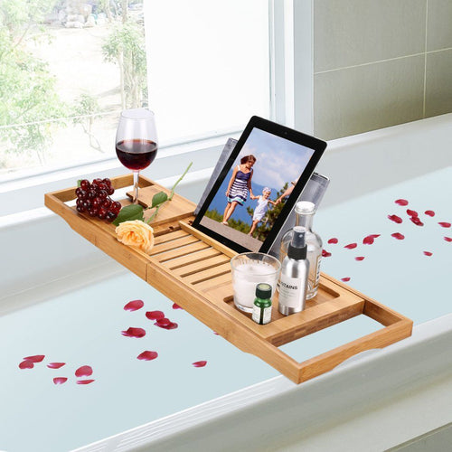 LANGRIA Bath Tray Bamboo Bathtub Caddy