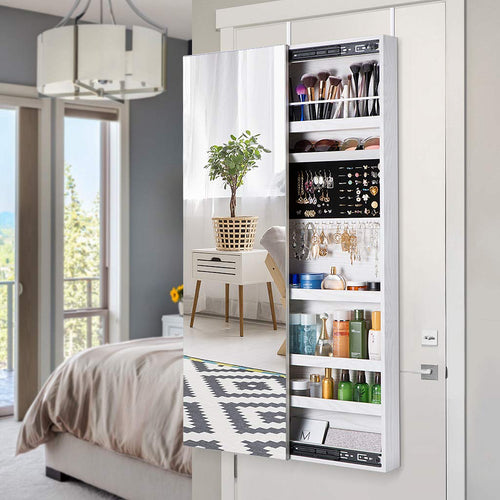 LANGRIA Jewelry Cabinet With Frameless Full Length Mirror And Unique  Sliding Door