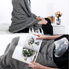 LANGRIA Geometrical Pattern Knitted Throw Blanket (50