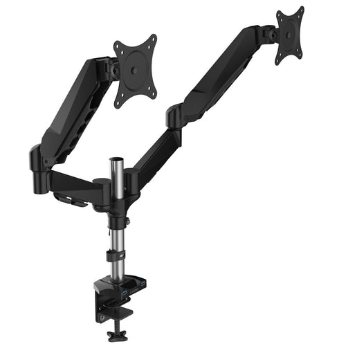 LANGRIA Free Standing Dual LCD Monitor Desk Mount Fully Adjustable for 2 Screen