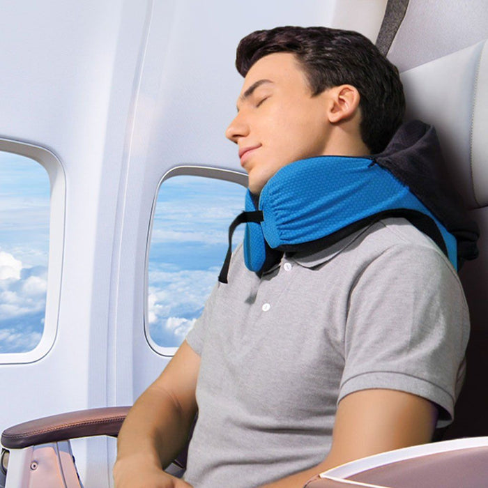 LANGRIA LANGRIA Memory Foam Travel Pillow with Long Haul Detachable Hood Adjustable Neck Size 6-in-1 for All Ages Portable Pocket Included Neck Travel Cushion for Plane Train Car Bus Office (Blue)