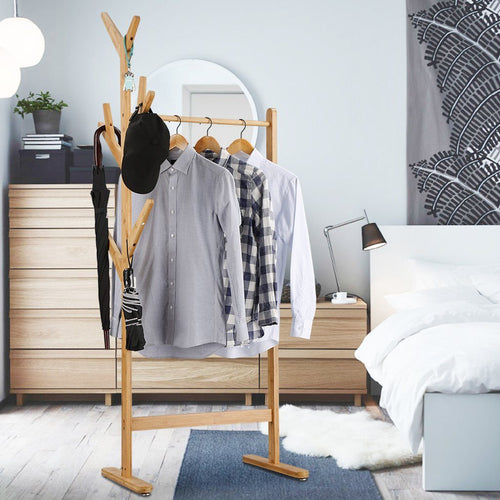 LANGRIA Bamboo Single Rail Garment Rack