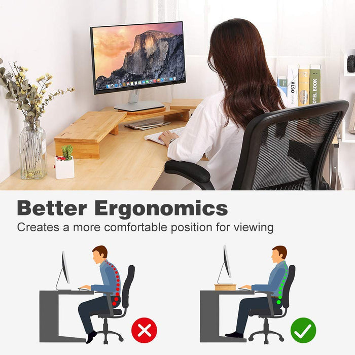 Bamboo Wood Monitor Stand Riser 3 Shelf for Dual Triple Screens Computer