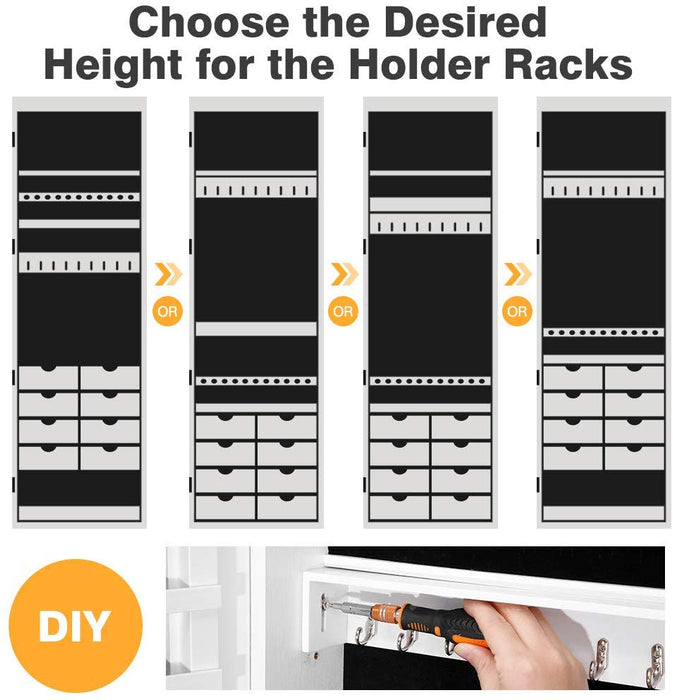 Full Length Mirror Jewelry Cabinet Organizer with 8 LED ...