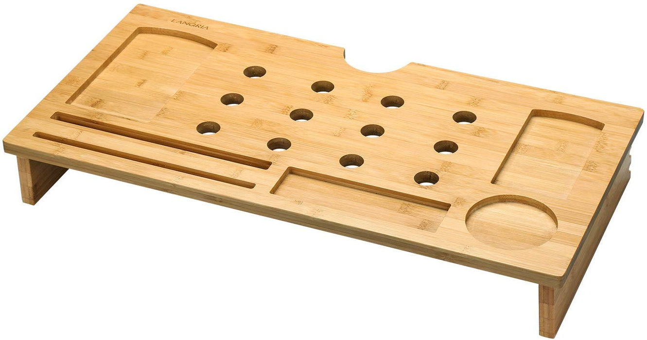 Bamboo Wood Monitor Stand Riser with Ventilation Holes