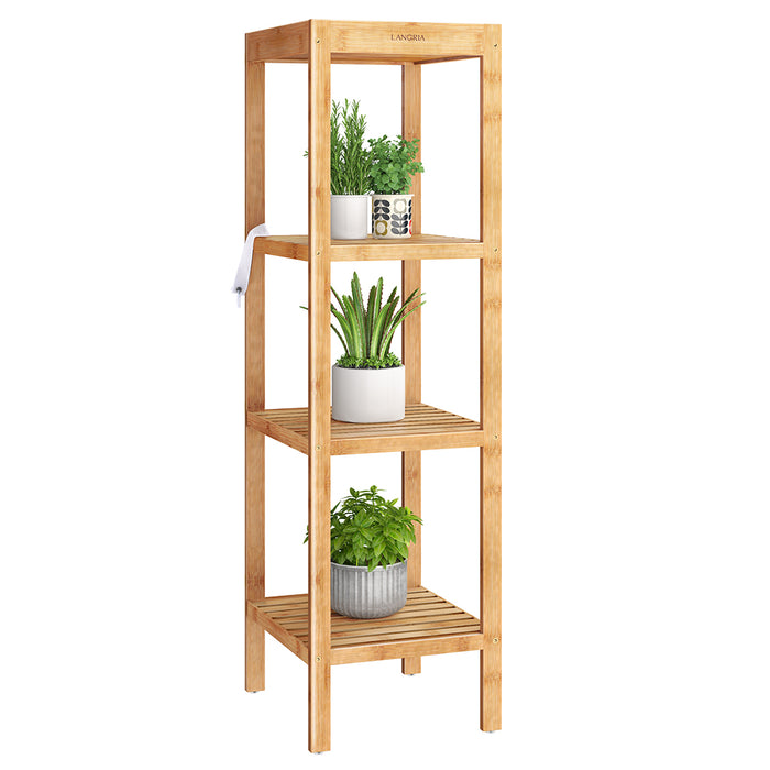 4-Tier Bamboo Shelf with Sunken Top Shelf | Natural Color