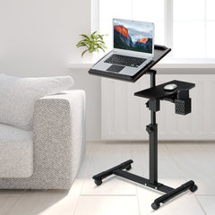 Laptop Desk Cart with Tilting Surfaces for Right and Left-Handed Users