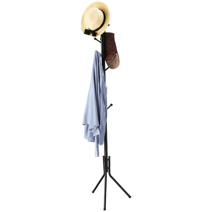 Free Standing Coat Rack with 8 Hooks, Solid Sturdy Metal Coat and Hat Rack Organizer with Tree-Like Design