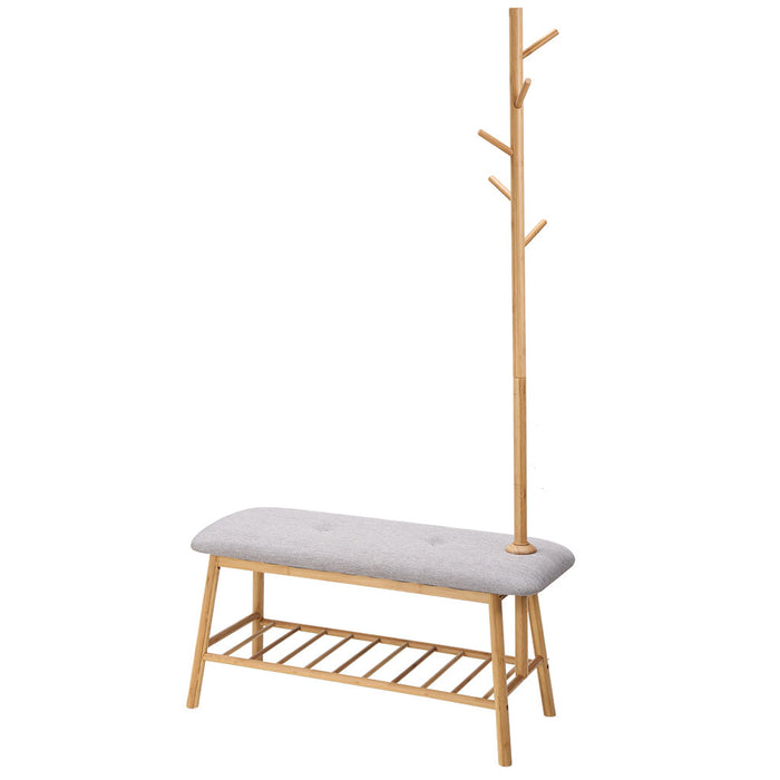 Bamboo Coat Rack with Soft Padded Shoe Bench Features Slatted Shelf and 5 Hooks for Jackets