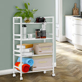 LANGRIA 4-Tier Wire Mesh Rolling Cart for Serving Utility Organization