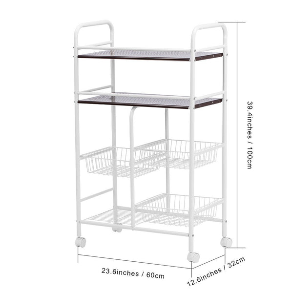 LANGRIA 4-Tier Wire Mesh Rolling Cart with Baskets, Ivory