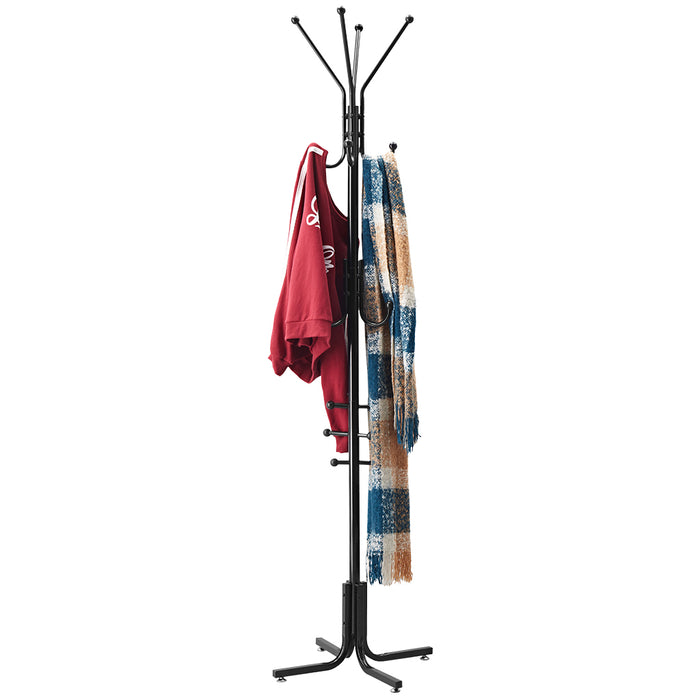 LANGRIA Metal Coat Stand with 17 Hooks and 6 Tiers
