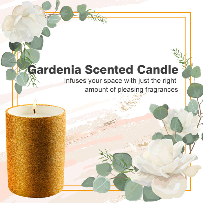3-IN-1 Gardenia Scented Candle Kit Gift Box w/ Snuffer & Wick Trimmer - Glitter