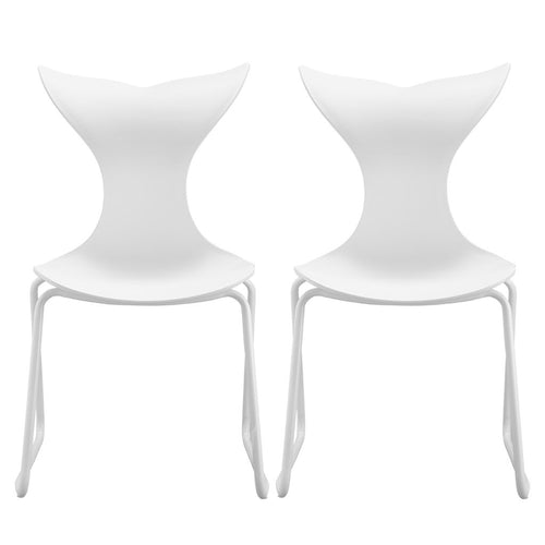 LANGRIA 2-Pack Modern Garden Dining Room Chairs with Metal Legs