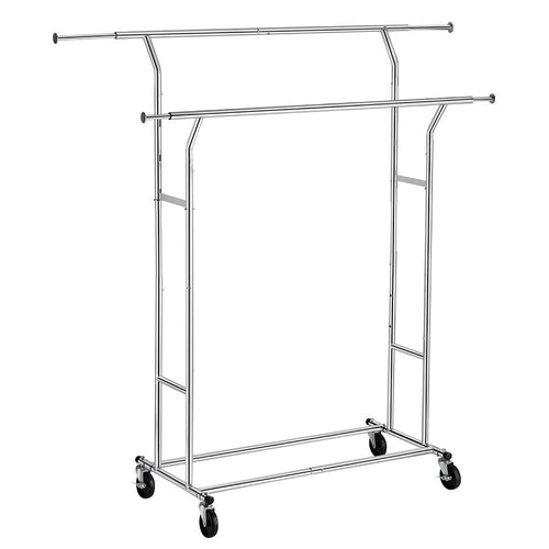 LANGRIA Collapsible Adjustable Double Rail Rolling Garment Rack, Chrome