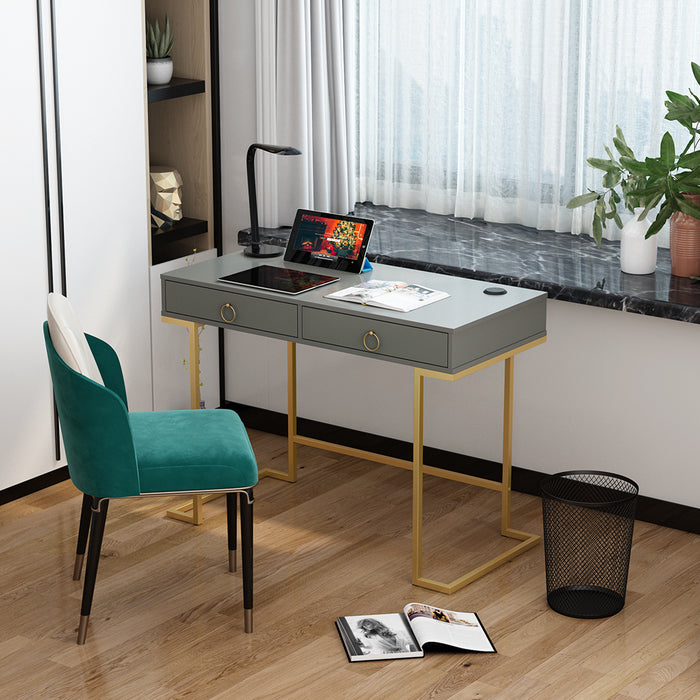 2 Drawers Computer Desk Study Writing Vanity Table - Grey/White