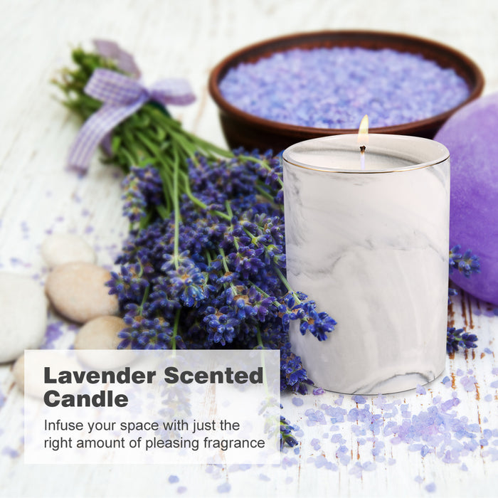 3-IN-1 Lavender Scented Candle Kit Gift Box w/ Snuffer & Wick Trimmer - White Marble
