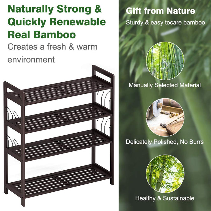 4-Tier Bamboo Shoe Rack Tower Organizer with Handles and Side Hangers