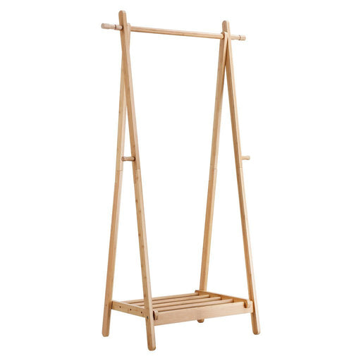 LANGRIA LANGRIA Foldable Bamboo Clothes Laundry Rack with 4 Side Hooks Lower Shoe Shelf for Extra Storage Space A-Frame Design Garment Stand, Bamboo Natural Color