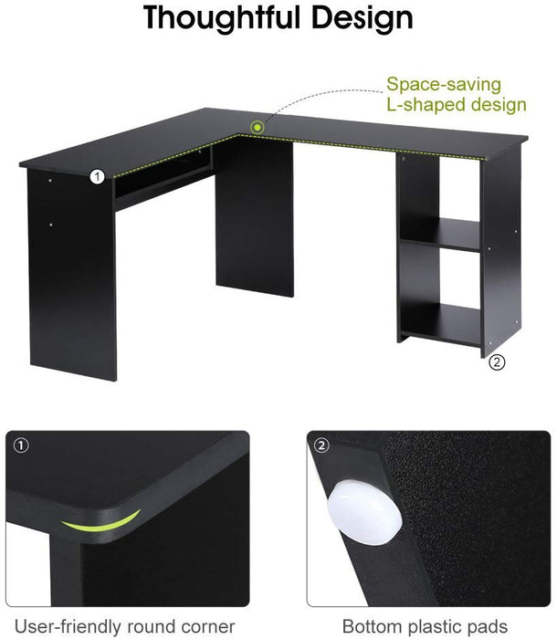 Large L-Shaped Computer Desk with Mute Sliding Keyboard Tray and 2-Bookshelf Corner