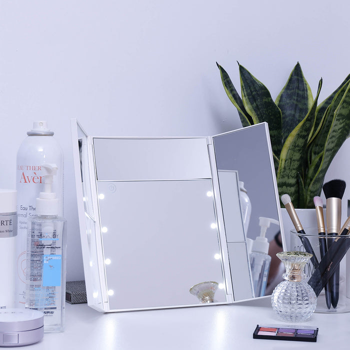 8 pcs LED lighted makeup mirror with 3X/2X/5X Magnifying Touch Screen,USB charging,90° Adjustable Rotation