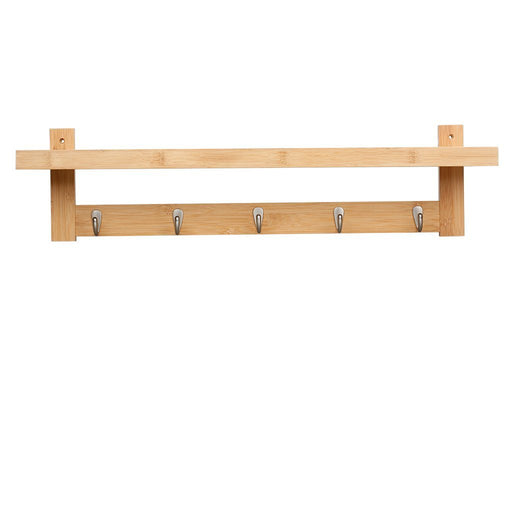 LANGRIA LANGRIA Coat Rack Shelf, Coat Rack Wall-Mounted Bamboo Wooden Hook Rack with 5 Metal Hooks and Upper Shelf for Storage Scandinavian Style for Hallway Bathroom Living Room Bedroom