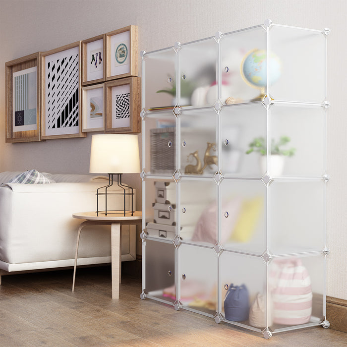12-Cube Curly Patterned Shelving Closet