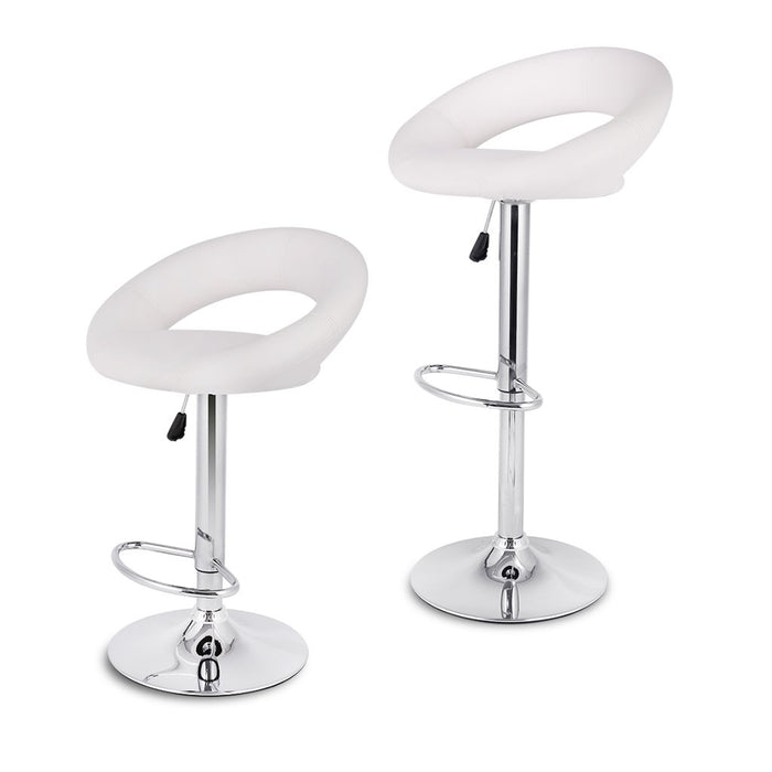 LANGRIA LANGRIA Bar Stools Set of 2 Faux Leather with Low Crescent Backrest Chrome Footrest and Base, 360 Degree Swivel Adjustable Height Max 120kg for Counter Bar Pub and Kitchen