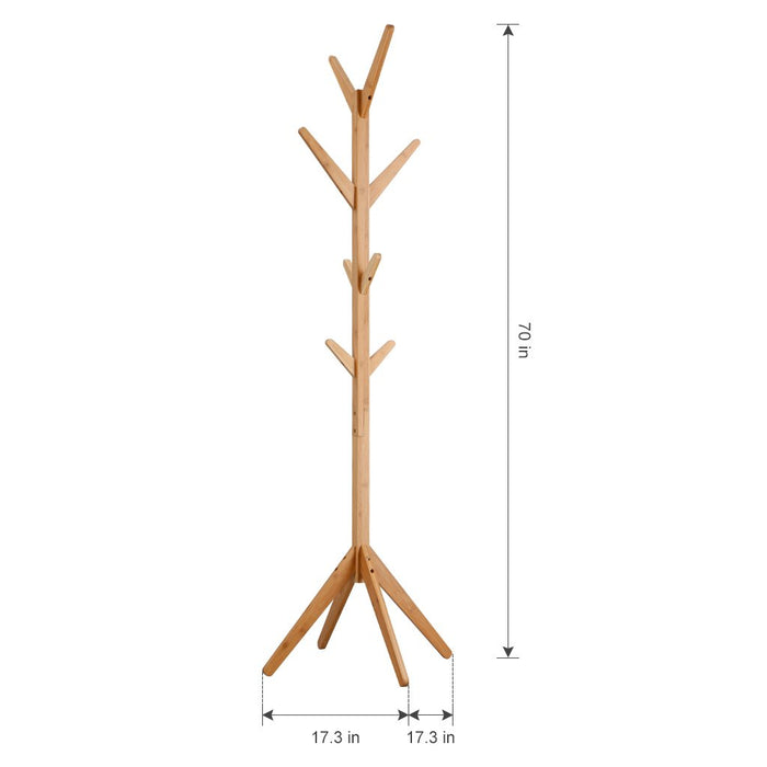 LANGRIA LANGRIA Free Standing Bamboo Tree-Shaped Display Coat Rack Stand with 4 Tiers 8 Hooks and Solid Feet for Clothes Scarves and Hats, Bamboo Natural Color