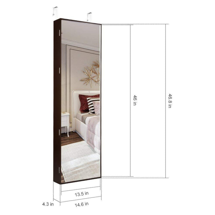 LANGRIA LANGRIA Jewelry Mirror Armoire-10 LEDs Wall Door Mounted Full Screen Mirror Cabinet Organizer with Spacious Storage, Mirror Size 13.5 in W x 46 in H