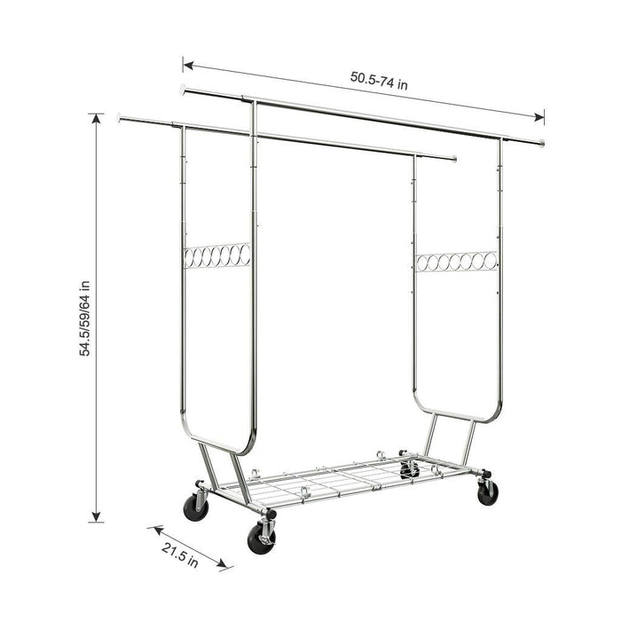 LANGRIA LANGRIA Heavy Duty Rolling Commercial Double Rail Clothing Garment Rack with Wheels Expandable Rods Collapsible Clothes Rack Max Load Capacity 287 lbs. for Bedroom Dressing Room Store (Chrome)