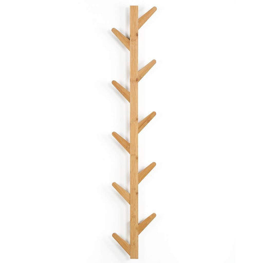 LANGRIA LANGRIA Tree-Shaped Coat Rack Hanger Wall Mounted Design with 10 Detachable Hooks Eco-Friendly Waterproof Bamboo Body Embedded Screws Easy to Clean, for Jacket, Hat, Umbrella, Scarf, Bags, Holds 10kg