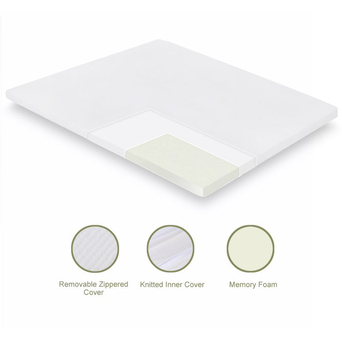 LANGRIA LANGRIA 3 Inch/7.6cm Memory Foam Mattress Topper with Breathable and Removable Cover