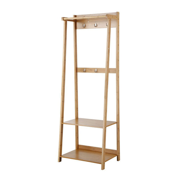 Multifunctional Standing Bamboo Garment Stand and Shoe Bench