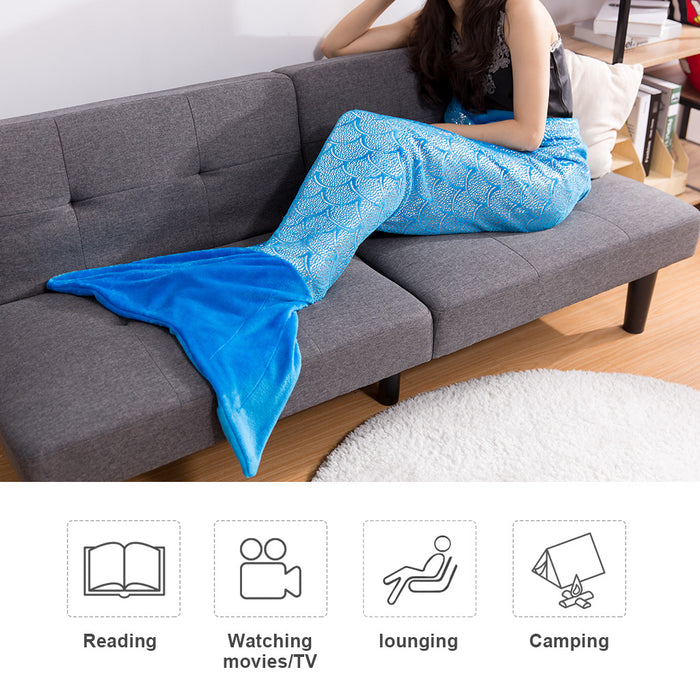 Mermaid Tail Blanket for Adults and Children Soft Warm All Season Snuggle Sleeping Life-like Little Mermaid Glittering Flannel Throw Blanket