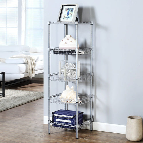 LANGRIA 5 Tier Wire Storage Rack with Baskets, Silver