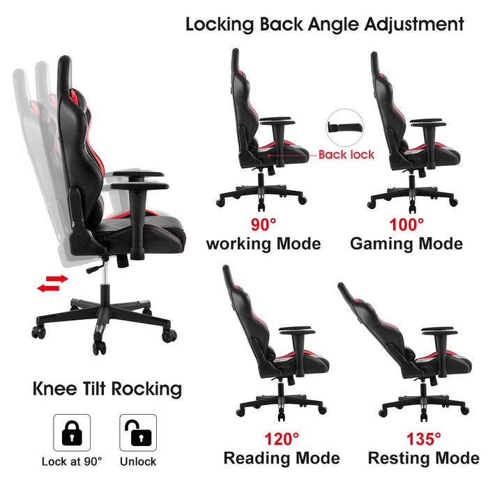 LANGRIA LANGRIA Gaming Chair New Computer Racing Style Leather Office Chair Heavy Duty Swivel High Back Recliner Chair with Lumbar Cushion,Neck Cushion,Adjustable Armrest and Headrest