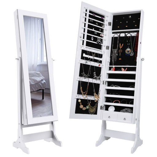 LANGRIA LANGRIA Mirrored Jewelry Cabinet Organizer, Full Length Standing Jewelry Storage Armoire with 2 Drawers and 3 Adjustable Angle