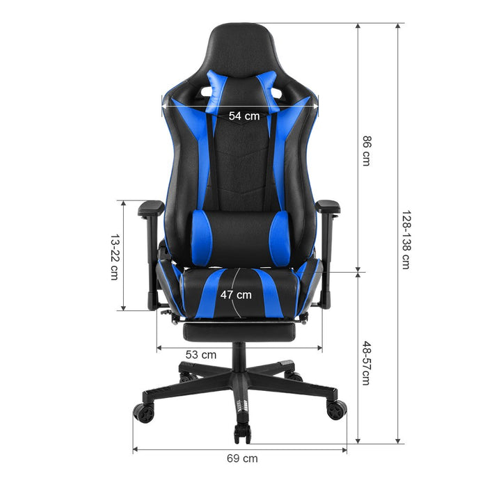 LANGRIA LANGRIA Executive High-Back PU Leather Computer Gaming Chair Racing Style with Pull-Out Footrest Adjustable Lumbar and Cervical Neck Cushions Padded Armrest and Headrest