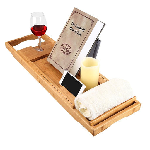 LANGRIA LANGRIA Bamboo Bathtub Caddy Tray with Extending Sides Mug/Wineglass/Smartphone Holder, Metal Frame Book/Pad/Tablet Holder with Waterproof Cloth Detachable Sliding Tray Non-Slip Rubber Base