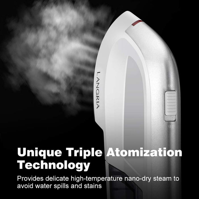 LANGRIA LANGRIA Clothes Iron Vertical Steam with Fast Heating in 15 Seconds 1300w power and 150ml tank Portable Travel Iron, Ideal for Travel and Home (White and Gray)