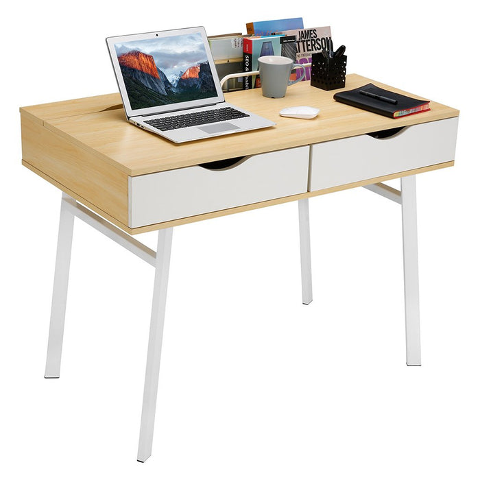 LANGRIA LANGRIA Modern Minimalist Large Computer Desk with 2 Drawers 2 Built-in Storage Compartments Sturdy Metal Legs Laptop Study Workstation for Home Office (39 x 23 x 29.5 in, Natural Wood & White)