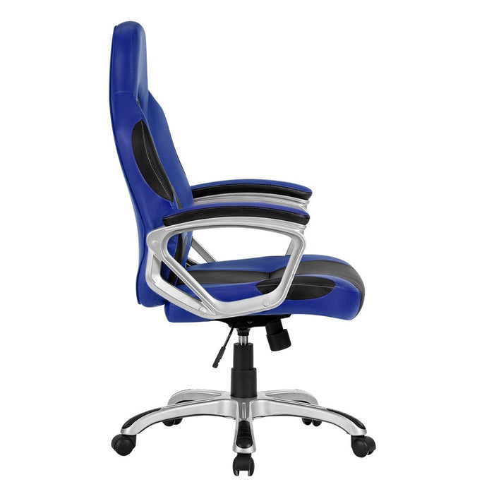 LANGRIA LANGRIA High-Back Computer Gaming Chair, PU Leather Ergonomic Office Chair Padded Footrest Armrests, Adjustable Seat Height, Tilting Back, 360 Degree Swivel, Black & Blue