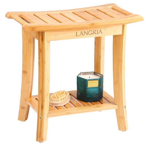 LANGRIA LANGRIA Bamboo Shower Bench Waterproof Wood Shower Chair, Spa Bath Organizer Seat Stool with Rubber Feet Hanging Rods, Load up to 330 lbs for Indoor or Outdoor Bathroom Shower Seat