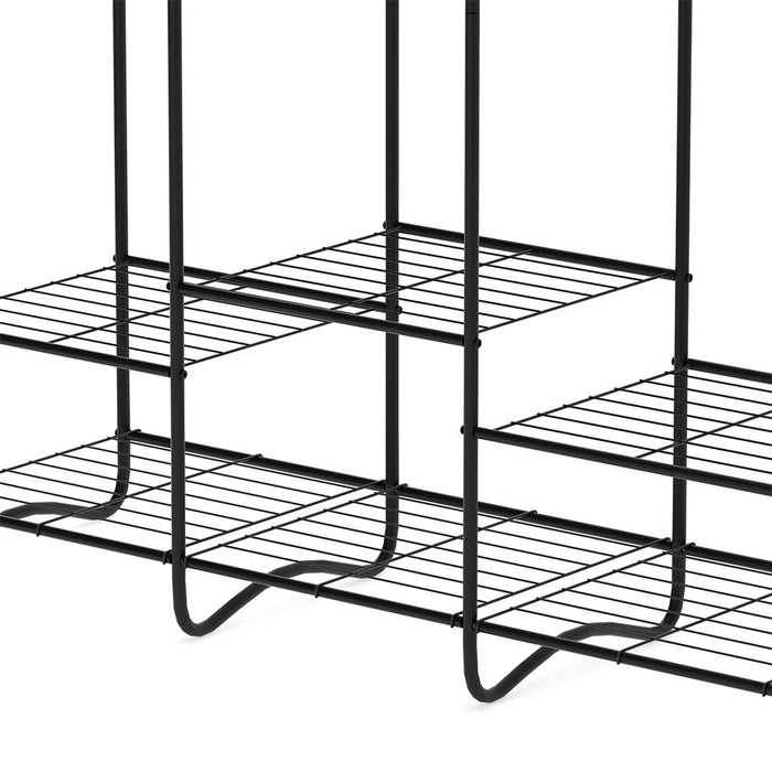 LANGRIA LANGRIA Large Free-Standing Closet Garment Rack Made of Sturdy Iron with Spacious Storage Space, 8 Shelves, Clothes Hanging Rods, Heavy Duty Clothes Organizer for Bedroom, Entryway