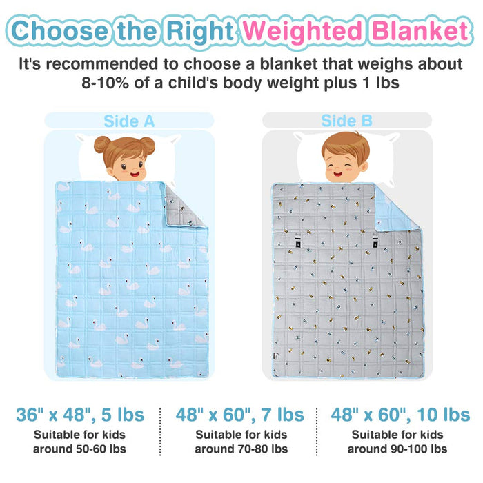 "LANGRIA LANGRIA Weighted Blanket for Kids (5 lbs, 36""x48""), Cool Heavy Blanket for Sleeping 