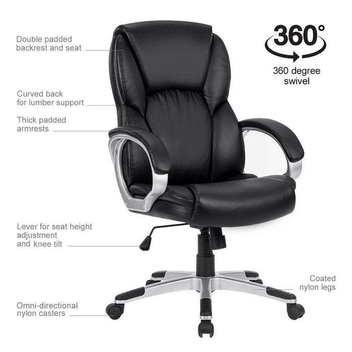 Mid-Back Faux Leather Computer Executive Office Chair, Modern and Ergonomic  Design